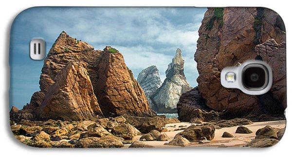 Sunset Abstract Galaxy S4 Cases - Ursa Beach Rocks Galaxy S4 Case by Carlos Caetano