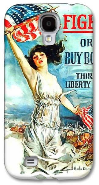 Saving Paintings Galaxy S4 Cases - Fight or Buy Bonds Galaxy S4 Case by US Army WW I Recruiting Poster