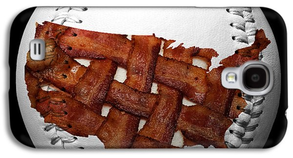 Basket Ball Game Galaxy S4 Cases - US Bacon Weave Map Baseball Square Galaxy S4 Case by Andee Design