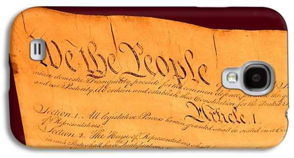 4th July Mixed Media Galaxy S4 Cases - US Constitution Closest Closeup Red Brown Background Larger Sizes Galaxy S4 Case by L Brown