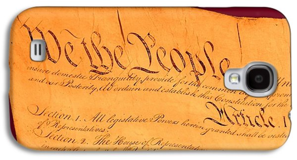 Revolutionary War Mixed Media Galaxy S4 Cases - US Constitution Closeup Violet Red Bacjground Galaxy S4 Case by L Brown