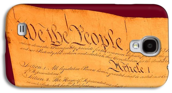 4th July Mixed Media Galaxy S4 Cases - US Constitution Closest Closeup Violet Red Background Galaxy S4 Case by L Brown