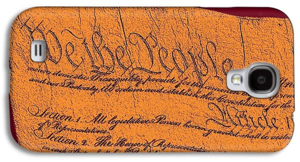 Revolutionary War Mixed Media Galaxy S4 Cases - US Constitution Closeup Sculpture Violet Red Background Galaxy S4 Case by L Brown