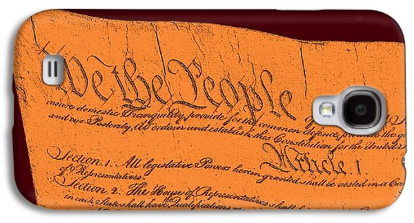 4th July Mixed Media Galaxy S4 Cases - US Constitution Sculpture Closest Closeup Red Brown Background Galaxy S4 Case by L Brown