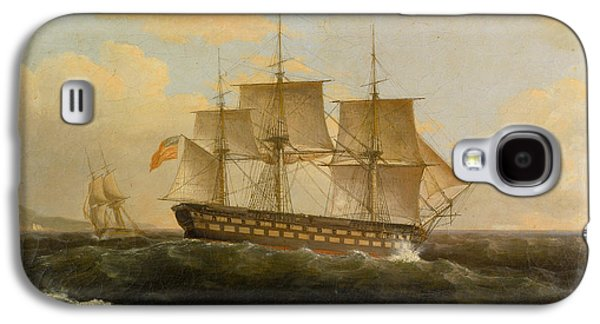 Frigates Paintings Galaxy S4 Cases - US Frigate President Galaxy S4 Case by Thomas Birch