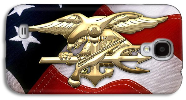 Patch Galaxy S4 Cases - U.S. Navy SEALs Emblem over American Flag Galaxy S4 Case by Serge Averbukh