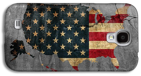 Usa Flag Mixed Media Galaxy S4 Cases - USA American Flag Country Outline Painted on Old Cracked Cement Galaxy S4 Case by Design Turnpike