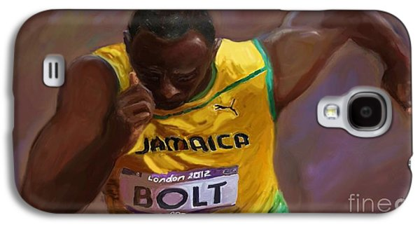 Olympic Gold Medalist Galaxy S4 Cases - USAIN BOLT 2012 Olympics Galaxy S4 Case by Vannetta Ferguson