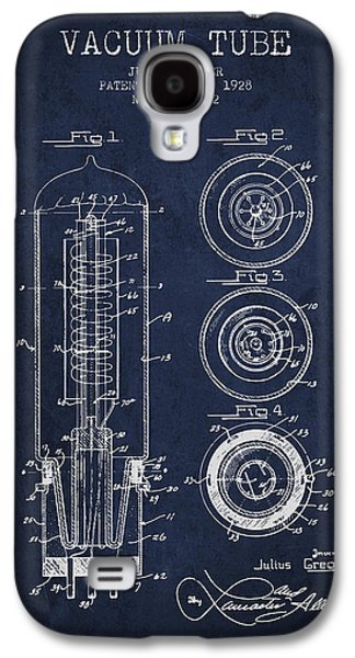 Electron Galaxy S4 Cases - Vacuum Tube Patent From 1928 - Navy Blue Galaxy S4 Case by Aged Pixel