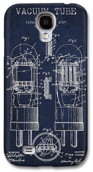 Electron Galaxy S4 Cases - Vacuum Tube Patent From 1929 - Navy Blue Galaxy S4 Case by Aged Pixel