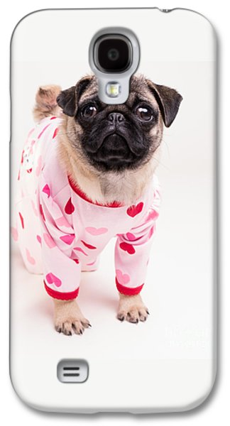 Puppies Galaxy S4 Cases - Valentines Day - Adorable Pug Puppy in Pajamas Galaxy S4 Case by Edward Fielding
