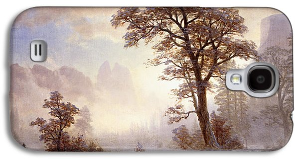 Mist Paintings Galaxy S4 Cases - Valley of the Yosemite Snow Fall Galaxy S4 Case by Albert Bierstadt