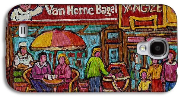 Montreal Memories Galaxy S4 Cases - Van Horne Bagel With Yangtze Restaurant Montreal Street Scene Galaxy S4 Case by Carole Spandau