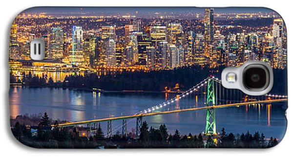 Burrard Inlet Galaxy S4 Cases - Vancouver city with Lions gate bridge at twilight Galaxy S4 Case by Pierre Leclerc Photography