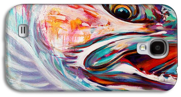 Abstract Nature Paintings Galaxy S4 Cases - Vanishing Native - Steelhead Trout Flyfishing Art Galaxy S4 Case by Savlen Art