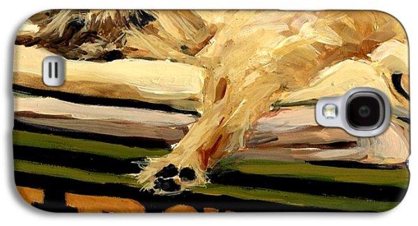 Sleeping Dog Galaxy S4 Cases - Varsity Blanket Galaxy S4 Case by Molly Poole