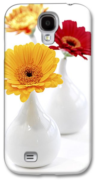 Flower Design Photographs Galaxy S4 Cases - Vases with Gerbera flowers Galaxy S4 Case by Elena Elisseeva