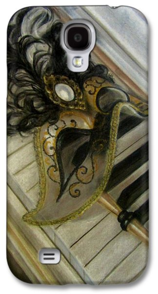 Piano Pastels Galaxy S4 Cases - Venetian mask on Piano  Galaxy S4 Case by Gea Scheltinga