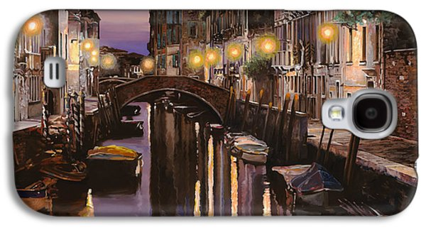 Docked Boat Galaxy S4 Cases - Venezia al crepuscolo Galaxy S4 Case by Guido Borelli