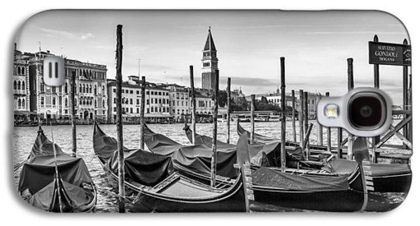 Ancient Galaxy S4 Cases - VENICE Grand Canal and Goldolas in black and white Galaxy S4 Case by Melanie Viola