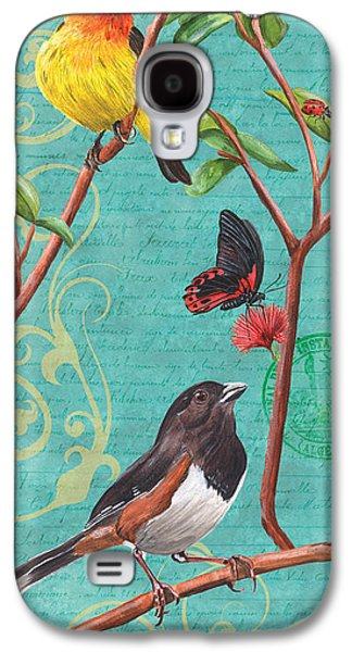 Symbol Paintings Galaxy S4 Cases - Verdigris Songbirds 2 Galaxy S4 Case by Debbie DeWitt
