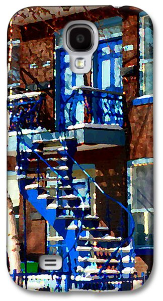 Montreal Memories Galaxy S4 Cases - Verdun Duplex Stairs With Birch Tree Montreal Winding Staircases Winter City Scene Carole Spandau Galaxy S4 Case by Carole Spandau