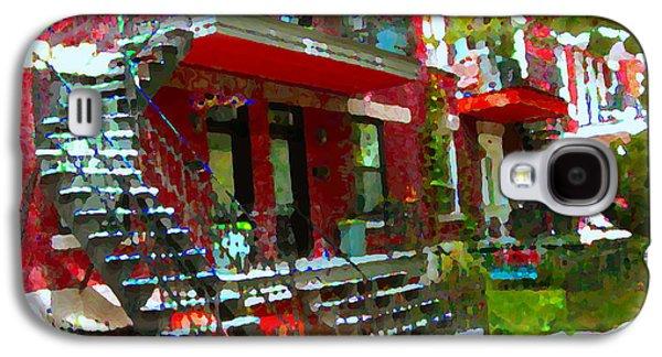 Montreal Memories. Galaxy S4 Cases - Verdun Spiral Staircases Sprawling Balconies Red Brick Duplex Triplex Montreal Scenes Carole Spandau Galaxy S4 Case by Carole Spandau