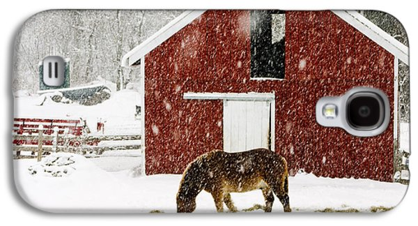 Farming Galaxy S4 Cases - Vermont Christmas Eve Snowstorm Galaxy S4 Case by Edward Fielding