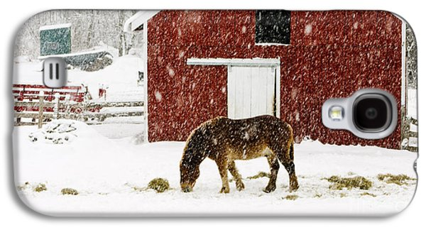 New England Barns Galaxy S4 Cases - Vermont Christmas Eve Snowstorm Galaxy S4 Case by Edward Fielding