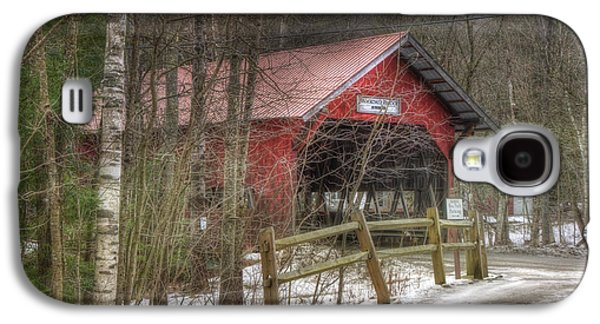 New England Snow Scene Galaxy S4 Cases - Vermont Covered Bridge - Stowe Vermont Galaxy S4 Case by Joann Vitali