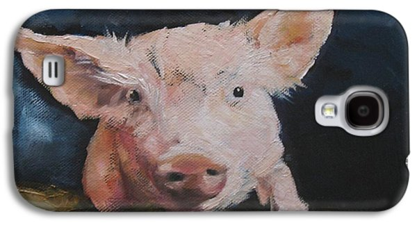 Piglets Paintings Galaxy S4 Cases - Vermont Piglet on Fence Galaxy S4 Case by Donna Ellery