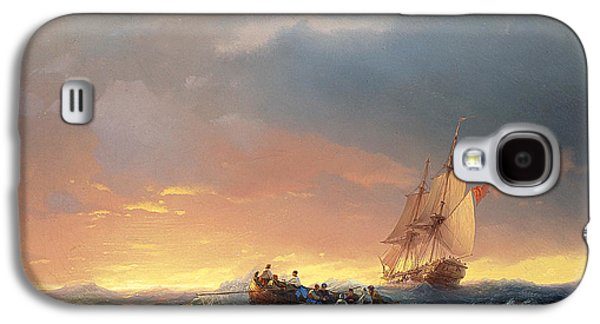 Water Vessels Paintings Galaxy S4 Cases - Vessels in a swell at sunset Galaxy S4 Case by Ivan Konstantinovich Aivazovsky