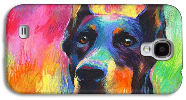 Blue Pastels Galaxy S4 Cases - Vibrant Doberman Pincher dog painting Galaxy S4 Case by Svetlana Novikova