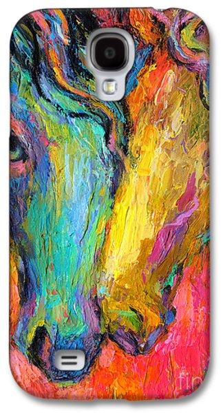 Equestrian Prints Galaxy S4 Cases - Vibrant Impressionistic Horses painting Galaxy S4 Case by Svetlana Novikova