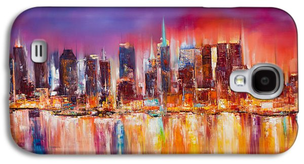 City Scenes Paintings Galaxy S4 Cases - Vibrant New York City Skyline Galaxy S4 Case by Manit