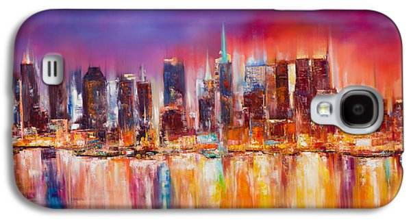 Empire State Galaxy S4 Cases - Vibrant New York City Skyline Galaxy S4 Case by Manit