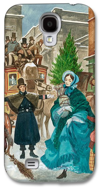 Police Christmas Card Galaxy S4 Cases - Victorian Christmas Scene Galaxy S4 Case by Peter Jackson