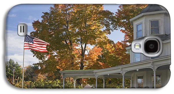Old Maine Houses Galaxy S4 Cases - Victorian House with American Flag Galaxy S4 Case by Keith Webber Jr