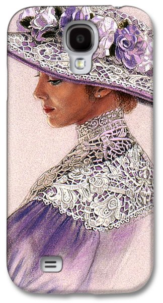 Portrait Pastels Galaxy S4 Cases - Victorian Lady in Lavender Lace Galaxy S4 Case by Sue Halstenberg