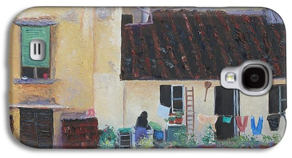 Laundry Paintings Galaxy S4 Cases - View from a Florence window Galaxy S4 Case by Jan Matson