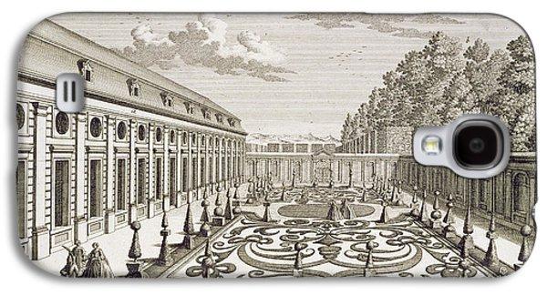 Austria Drawings Galaxy S4 Cases - View of a flower garden near Vienna Galaxy S4 Case by Georg Daniel Heumann