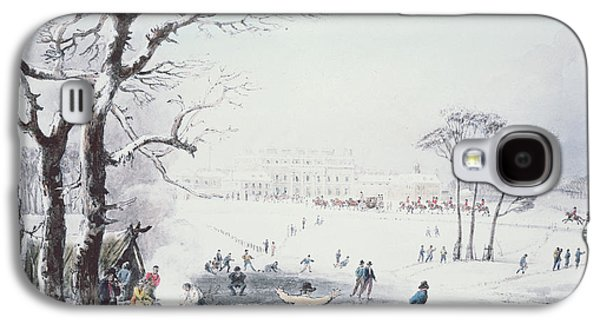 Winter Prints Galaxy S4 Cases - View of Buckingham House and St James Park in the Winter Galaxy S4 Case by John Burnet
