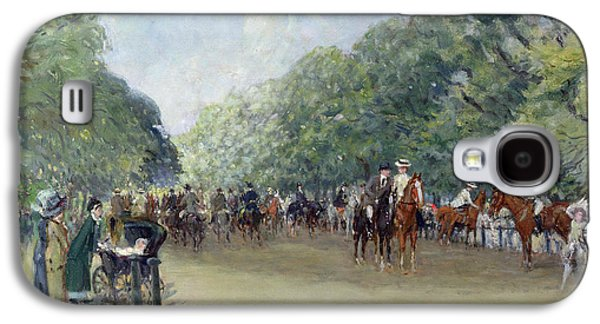 View Of Hyde Park With Figures On Rotten Row  Galaxy S4 Case by Albert Jnr Ludovici