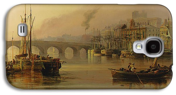 River View Paintings Galaxy S4 Cases - View of Newcastle from the River Tyne Galaxy S4 Case by Thomas Miles Richardson