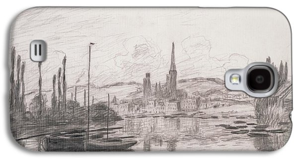 Lines Drawings Galaxy S4 Cases - View of Rouen Galaxy S4 Case by Claude Monet