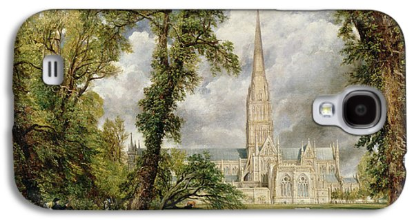 River View Paintings Galaxy S4 Cases - View of Salisbury Cathedral from the Bishops Grounds Galaxy S4 Case by John Constable