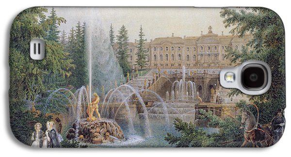 Horse And Buggy Galaxy S4 Cases - View Of The Marly Cascade From The Lower Garden Of The Peterhof Palace, C.1830-60 Wc On Paper Galaxy S4 Case by Vasili Semenovich Sadovnikov