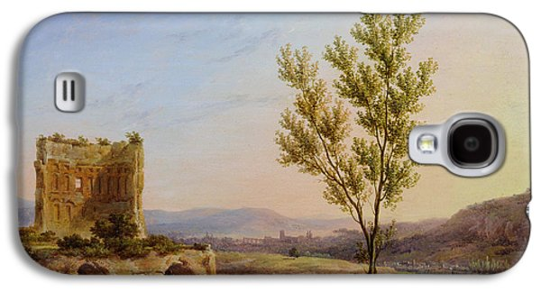 River Scenes Photographs Galaxy S4 Cases - View Of The Outskirts Of Rome Oil On Canvas Galaxy S4 Case by Pierre Henri de Valenciennes