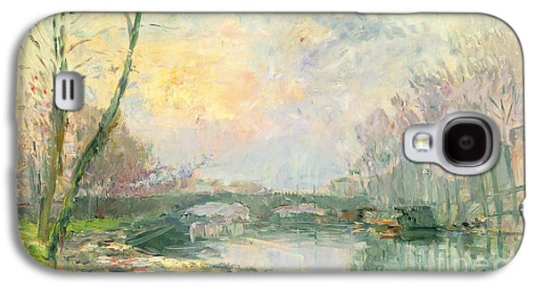 River View Paintings Galaxy S4 Cases - View of the Seine Paris Galaxy S4 Case by Albert Charles Lebourg