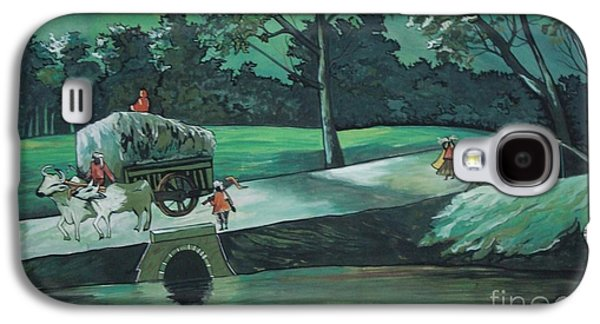 Landscape Acrylic Prints Drawings Galaxy S4 Cases - Village routine life Galaxy S4 Case by Artist Nandika  Dutt